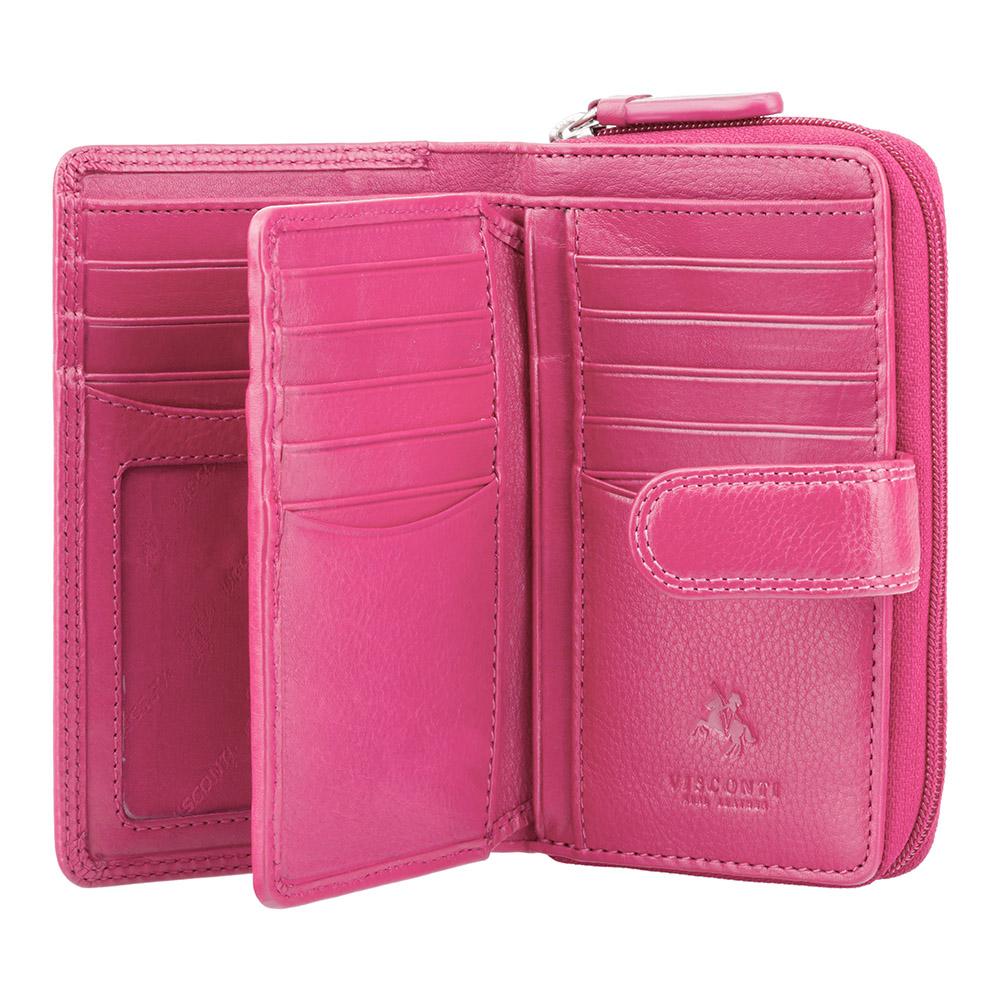 Женский кожаный кошелек Visconti HT33 - Madame (fuchsia)