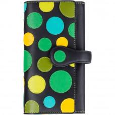 Женский кожаный кошелек в горошек на застежке Visconti P2  - Neptune (lily pad)