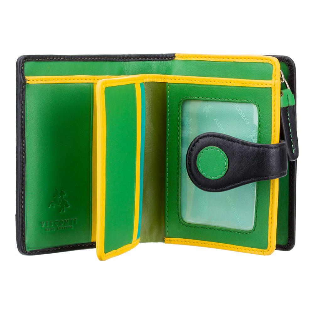 Женский кошелек в горошек на застежке Visconti P3 - Pluto (lily pad)