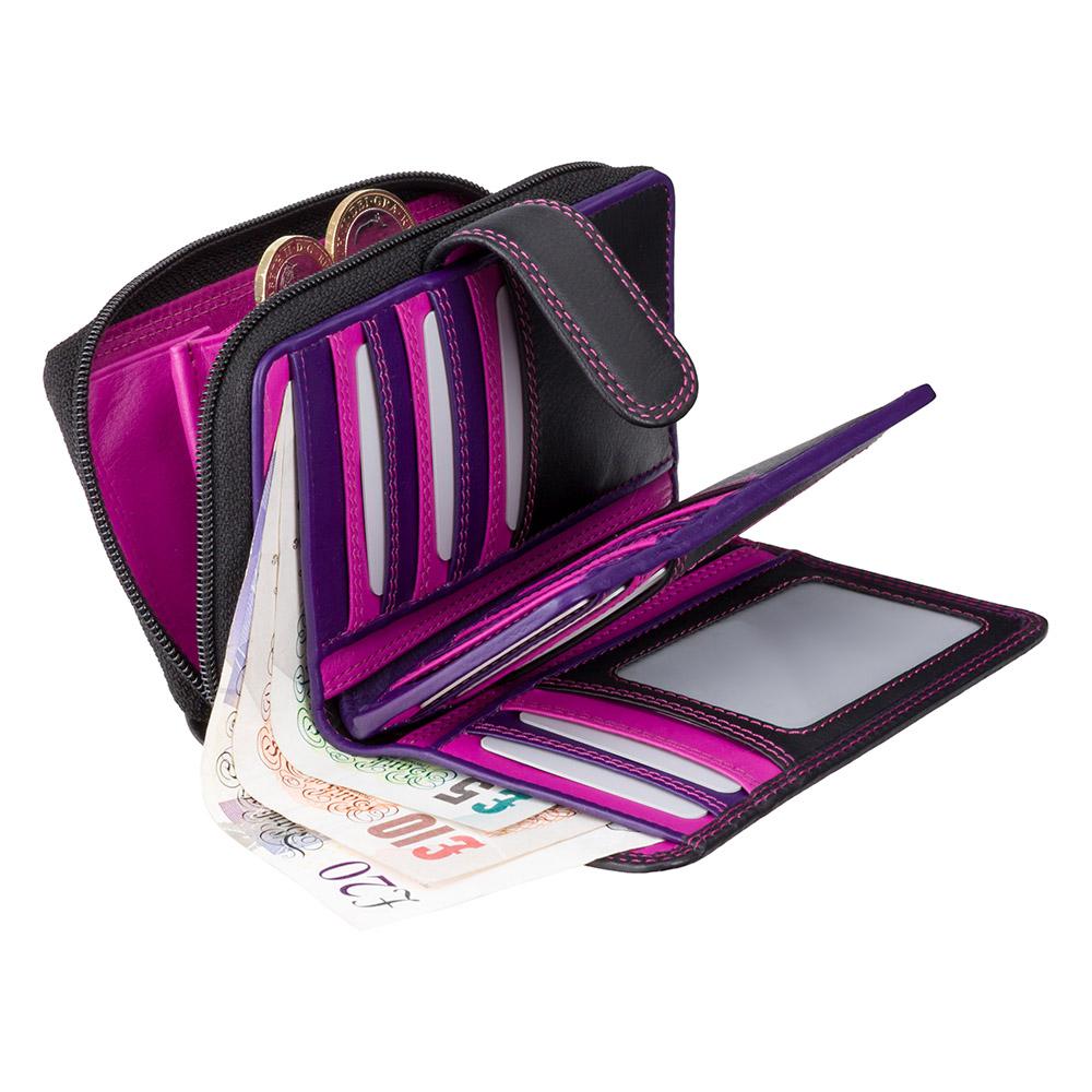 Женский кожный кошелек Visconti R13 - Carmelo (black/purple)