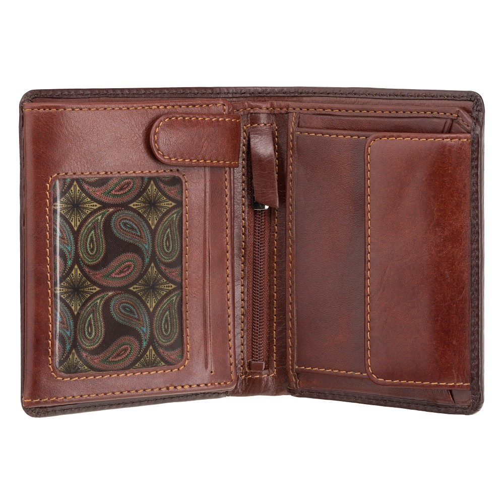 Мужской кожаный кошелек с монетницей без застежки Visconti AT62 c RFID - Hector (Burnish Tan)