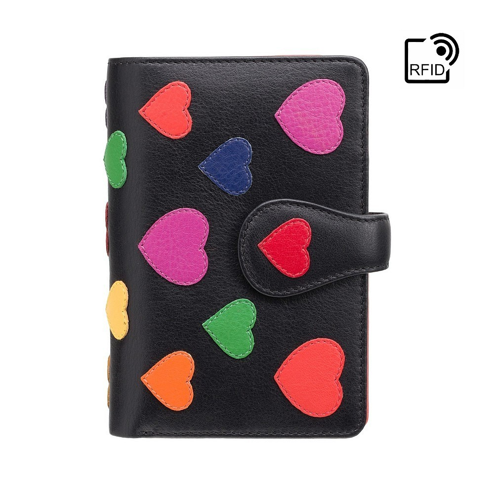 Женский кошелек Visconti LV4 Crush с защитой RFID (Black/Multi Love)