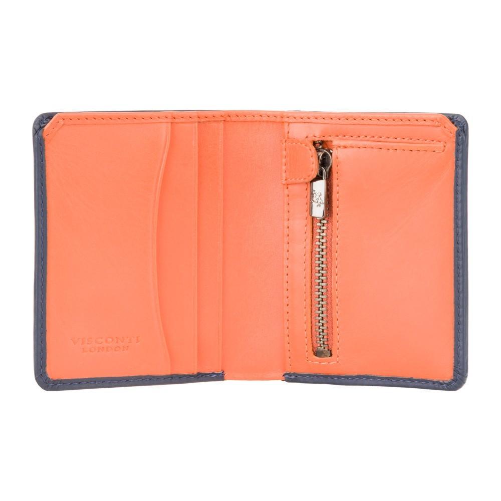 Компактный мужской кошелек Visconti PLR70 с Tap-n-Go Piana  (Steel Blue-Orange)