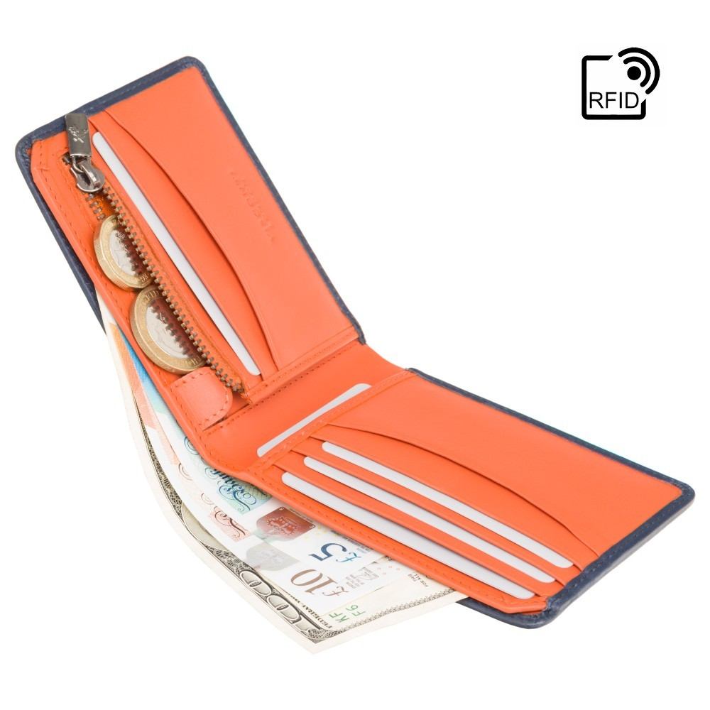 Мужской кошелек Visconti PLR72 с Tap-n-Go  - Segesta (Steel Blue/Orange)