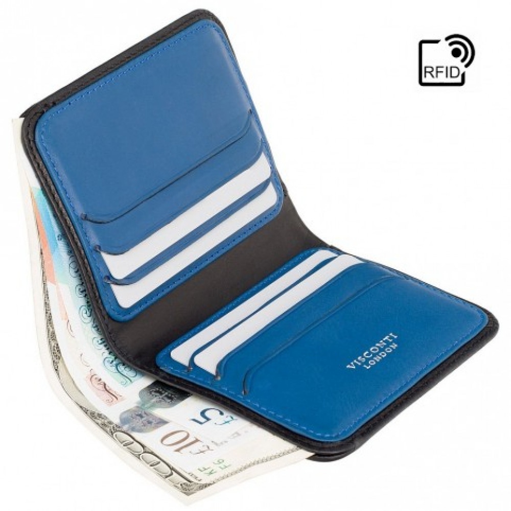 Мужской кожаный кошелек без монетницы и застежки Visconti VSL34 Tap-n-Go c RFID - Lank (Black/Cobalt)