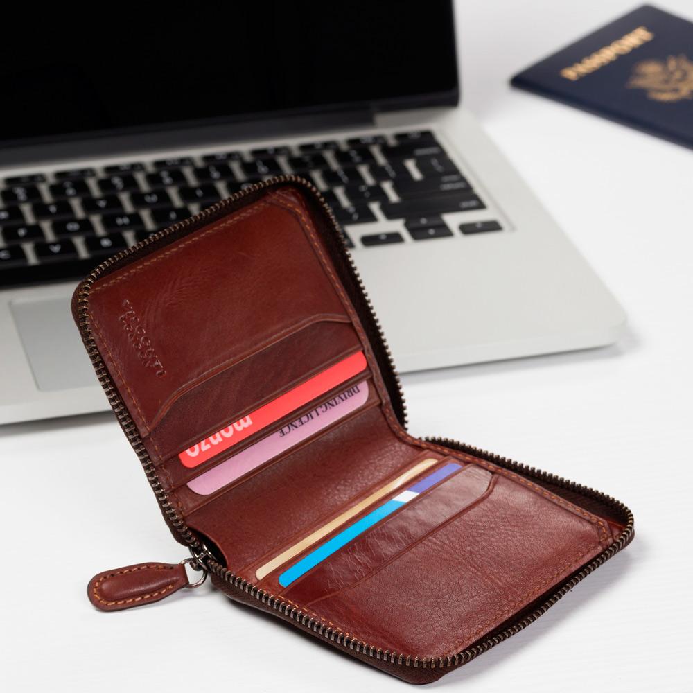 Мужской кожаный кошелёк на молнии Visconti AT65 Mondello с Tap-n-Go (Burnish Tan)