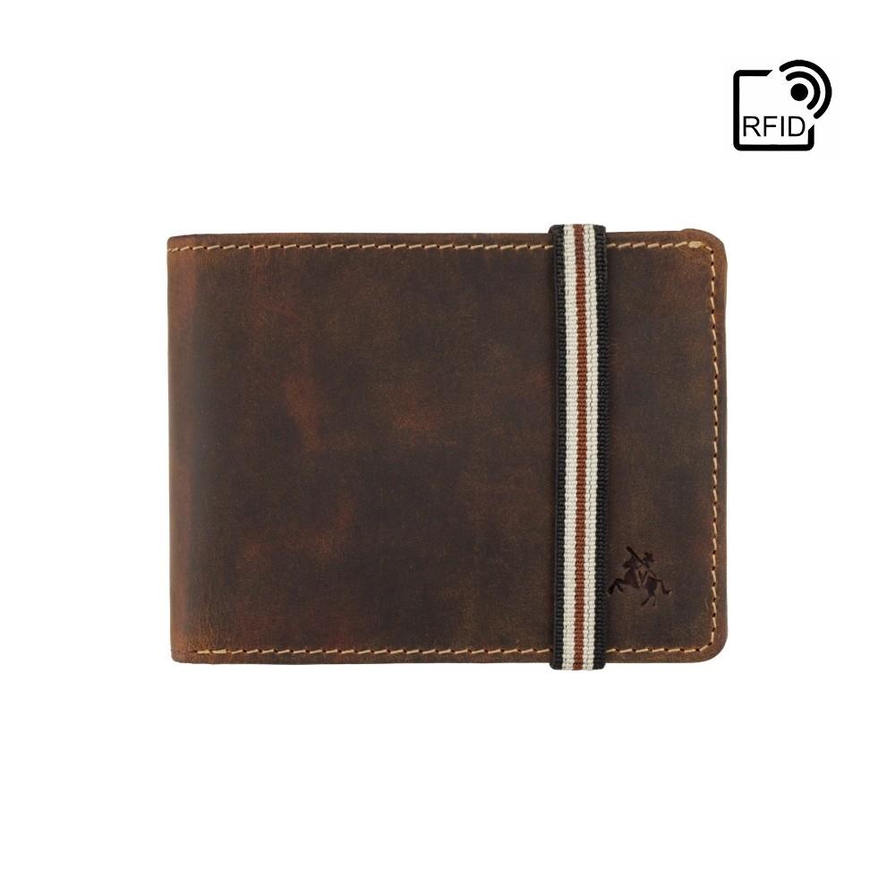 Мужской кожаный кошелек на резинке с монетницей Visconti BN3 - Segesta (Oil Tan)