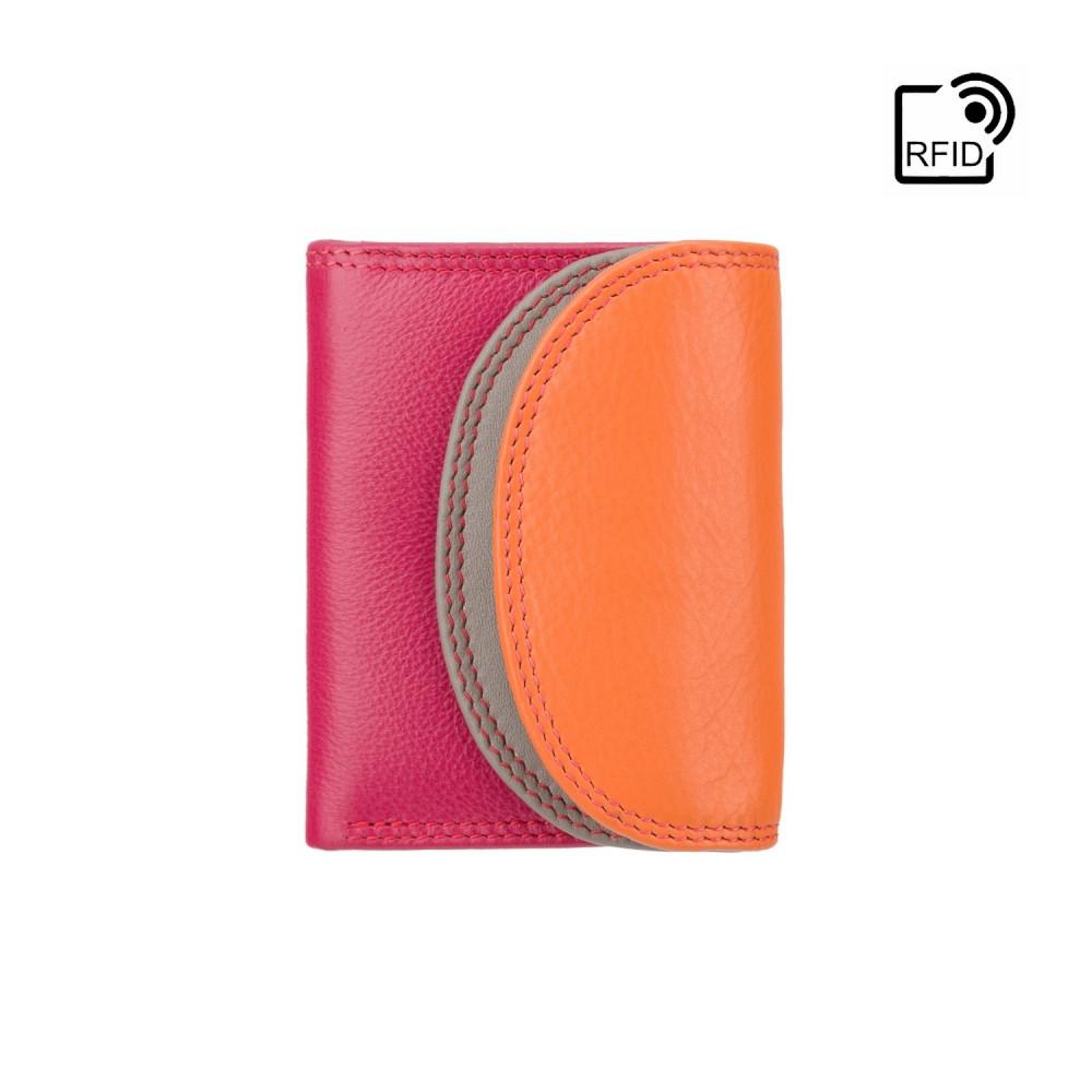 Маленький женский кожаный кошелек с монетницей Visconti RB126 Zanzibar (Orange Multi)