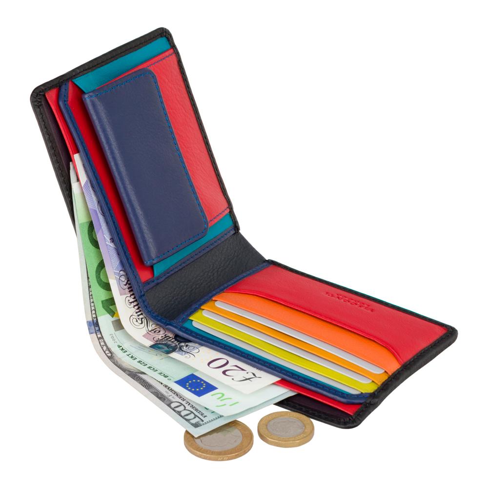 Мужской кожаный кошелек с Tap-n-Go Visconti SP61 Gulzar (Black Multi)