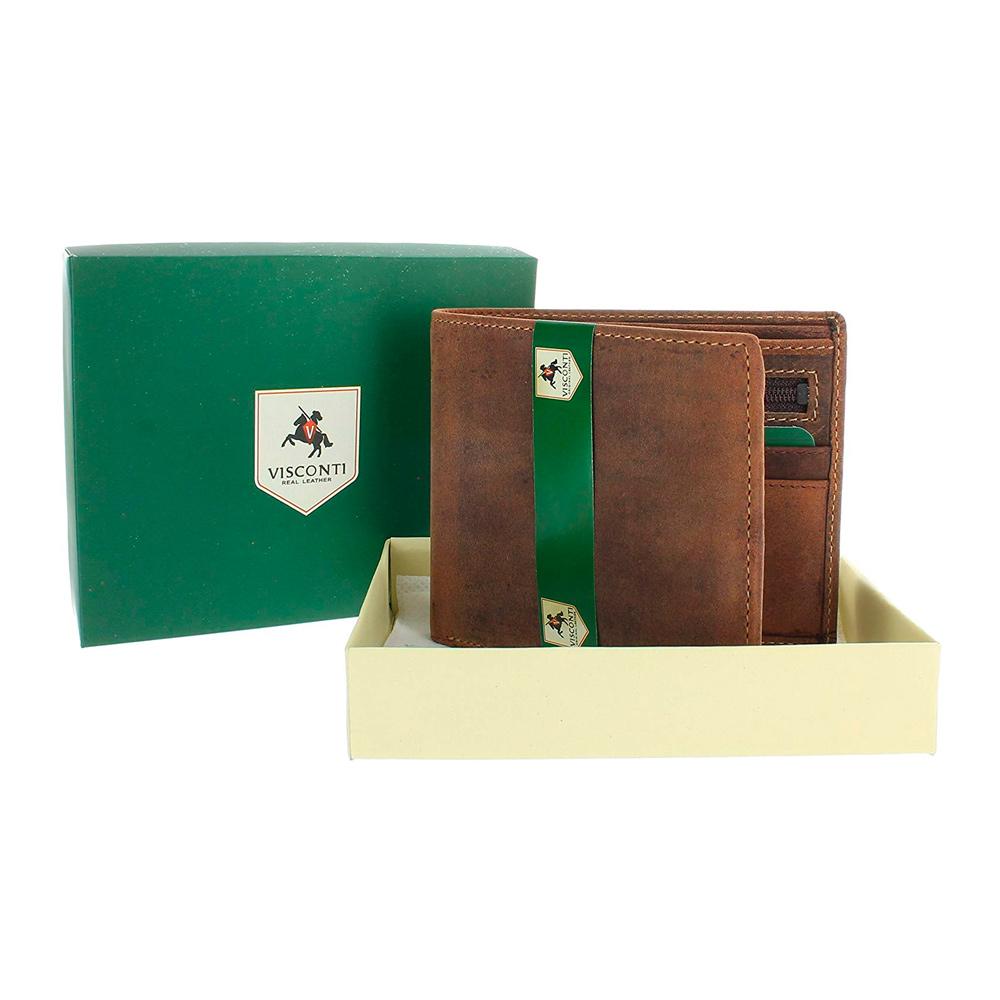 Мужской кожаный кошелек без монетницы Visconti 707 с RFID - Shield (oil tan)
