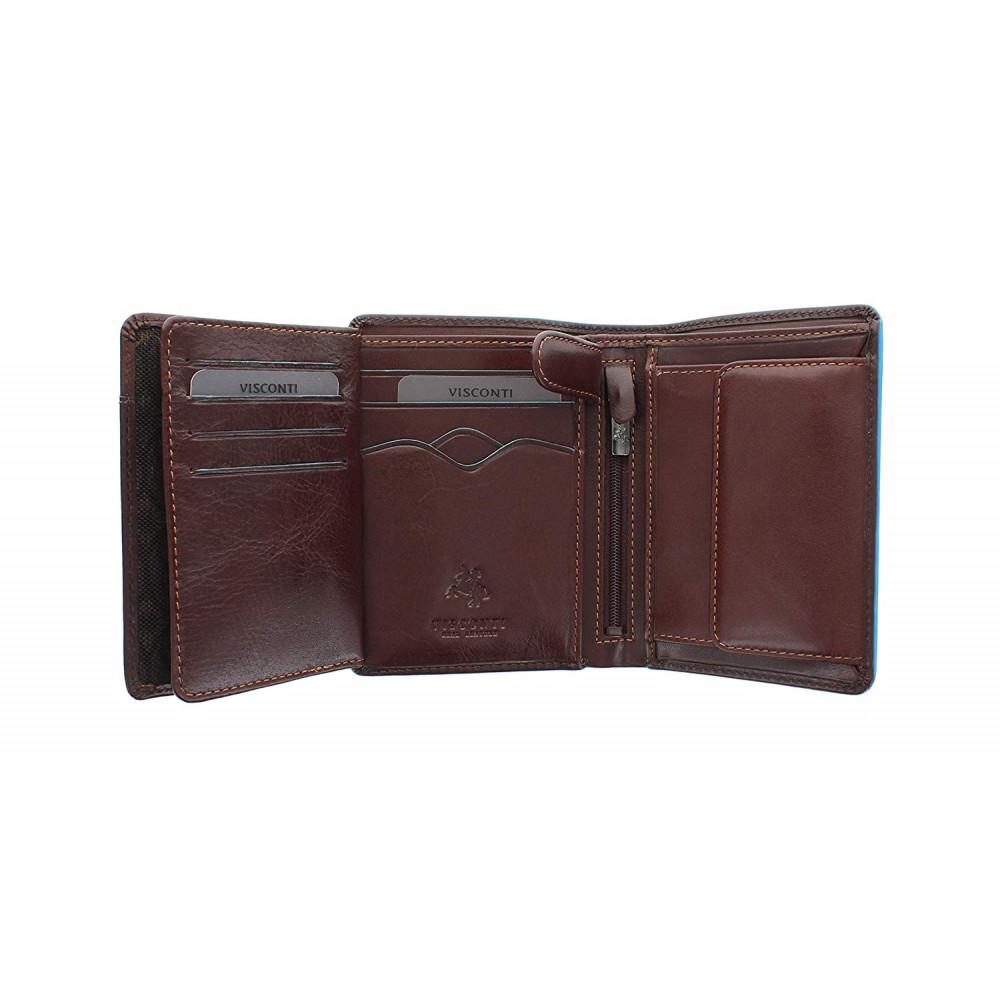 Мужской кожаный кошелек Visconti ALP87 с защитой RFID - Ralph (Italian brown)