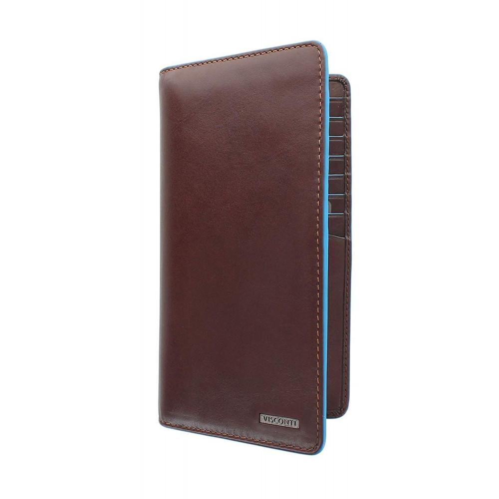 Мужской кожаный купюрник Visconti ALP88 с защитой RFID - Jean-Paul (Italian brown)