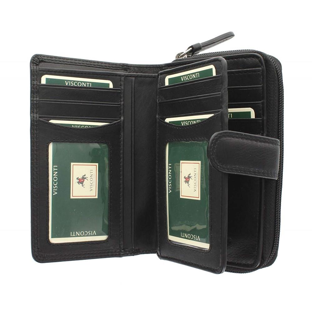 Женский кожаный кошелек Visconti HT33 - Madame (black)