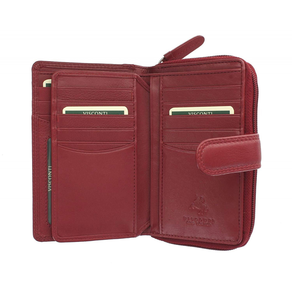 Женский кожаный кошелек Visconti HT33 - Madame (red)