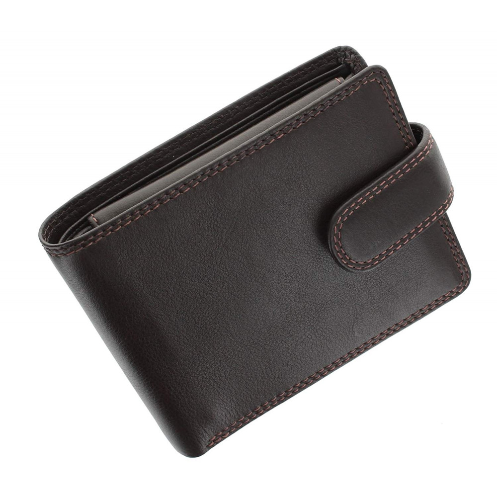Мужской кожаный кошелек с монетницей на кнопке Vіsconti HT10 с RFID - Knightsbrige (Choc)