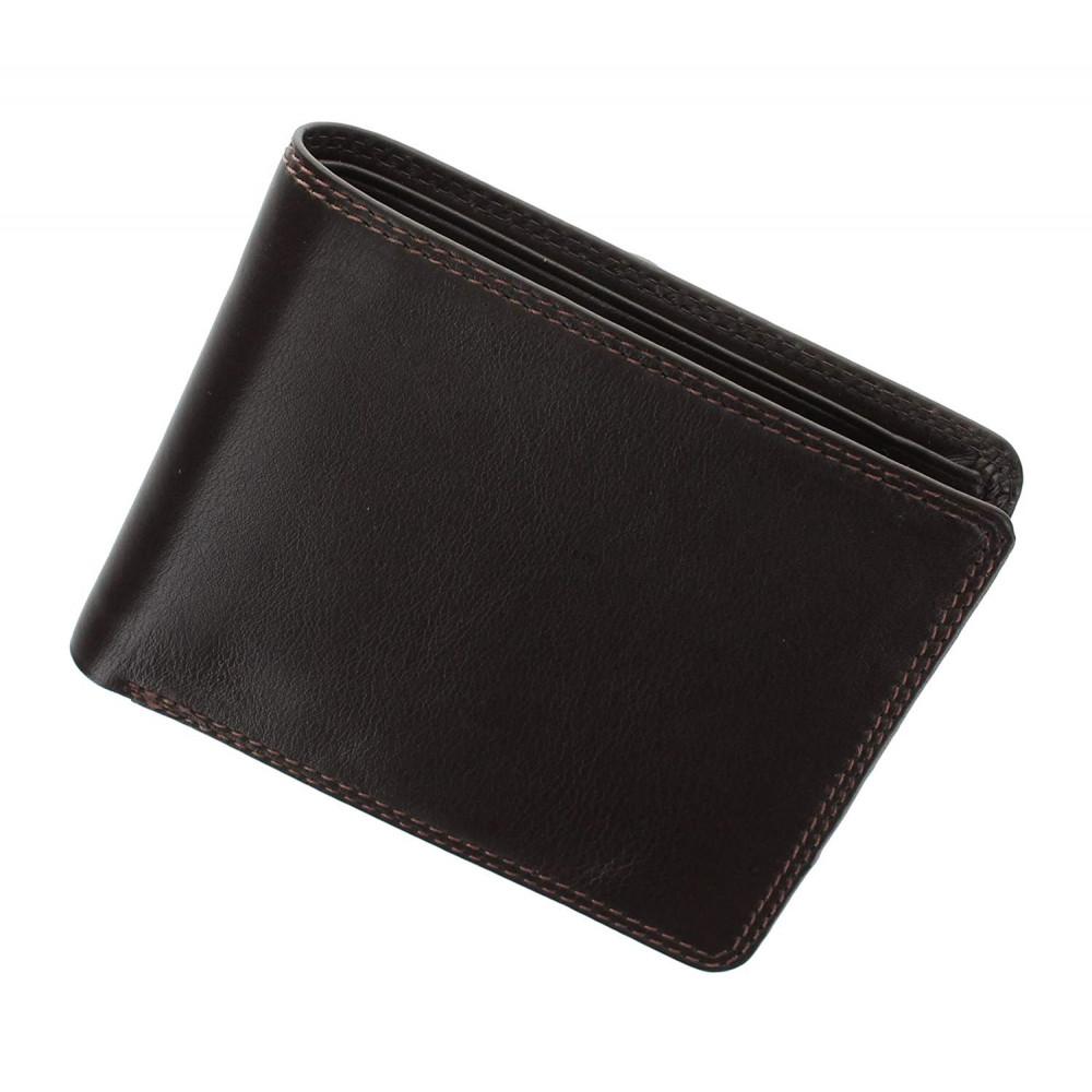 Мужской кожаный кошелек с монетницей без застежки Visconti HT7 - Stamford (Choc)