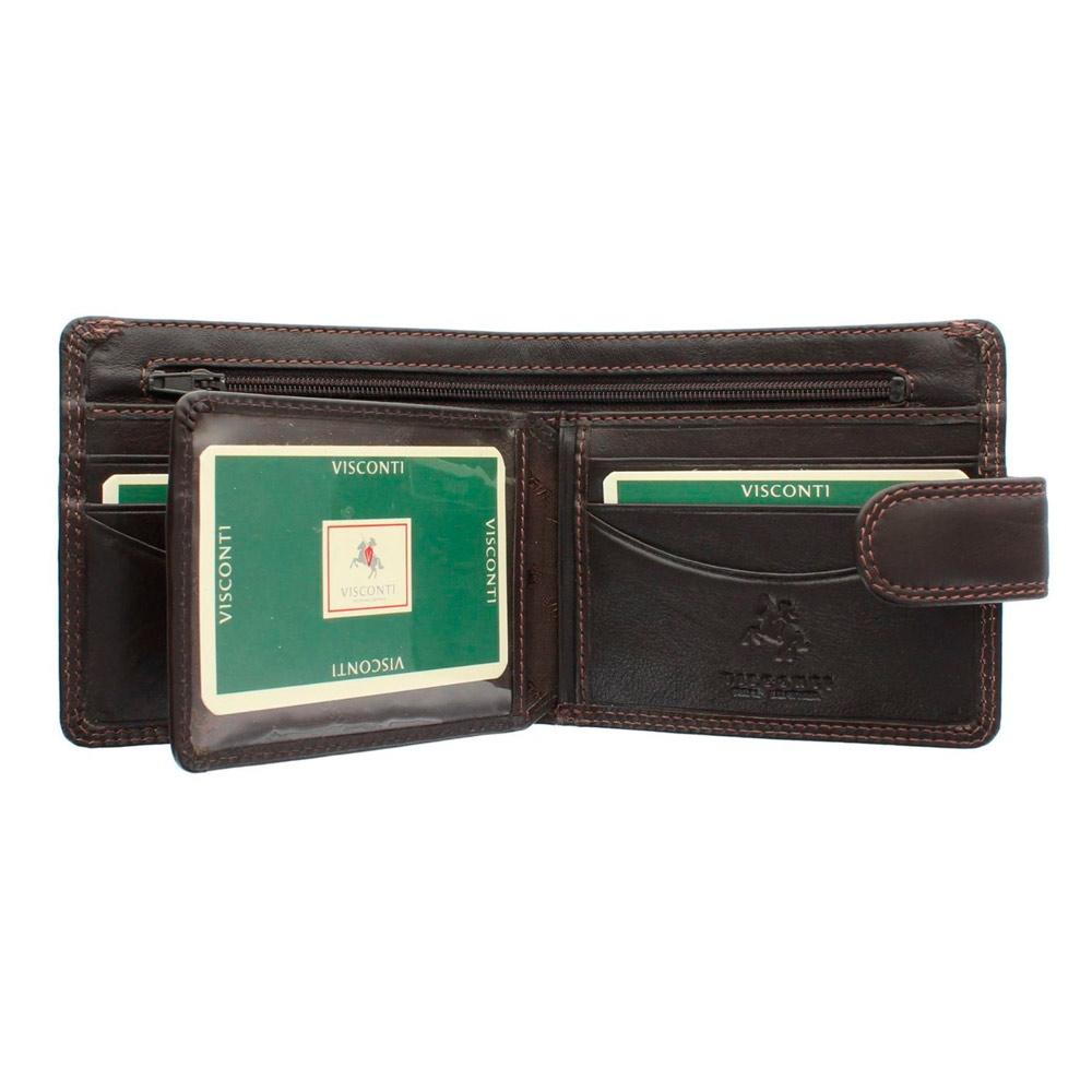 Мужской кожаный кошелек на кнопке без монетницы Vіsconti HT9 - Sloan (Choc)