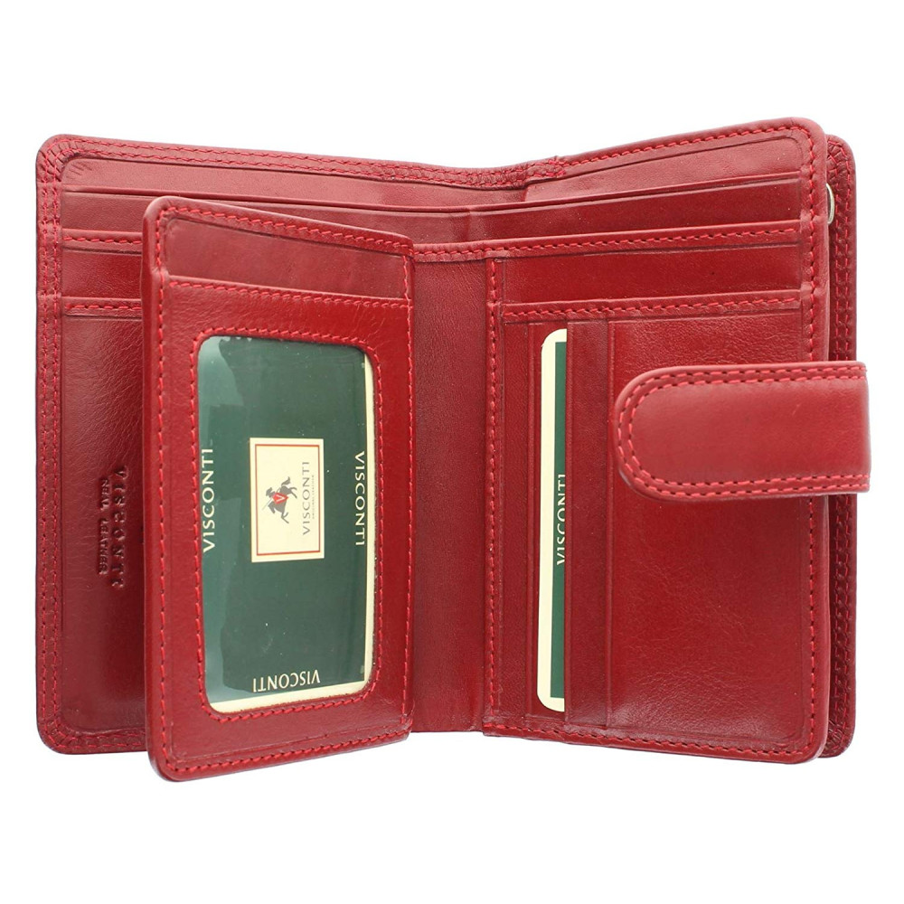 Женский кожный кошелек Visconti MZ11 Venice (Red)