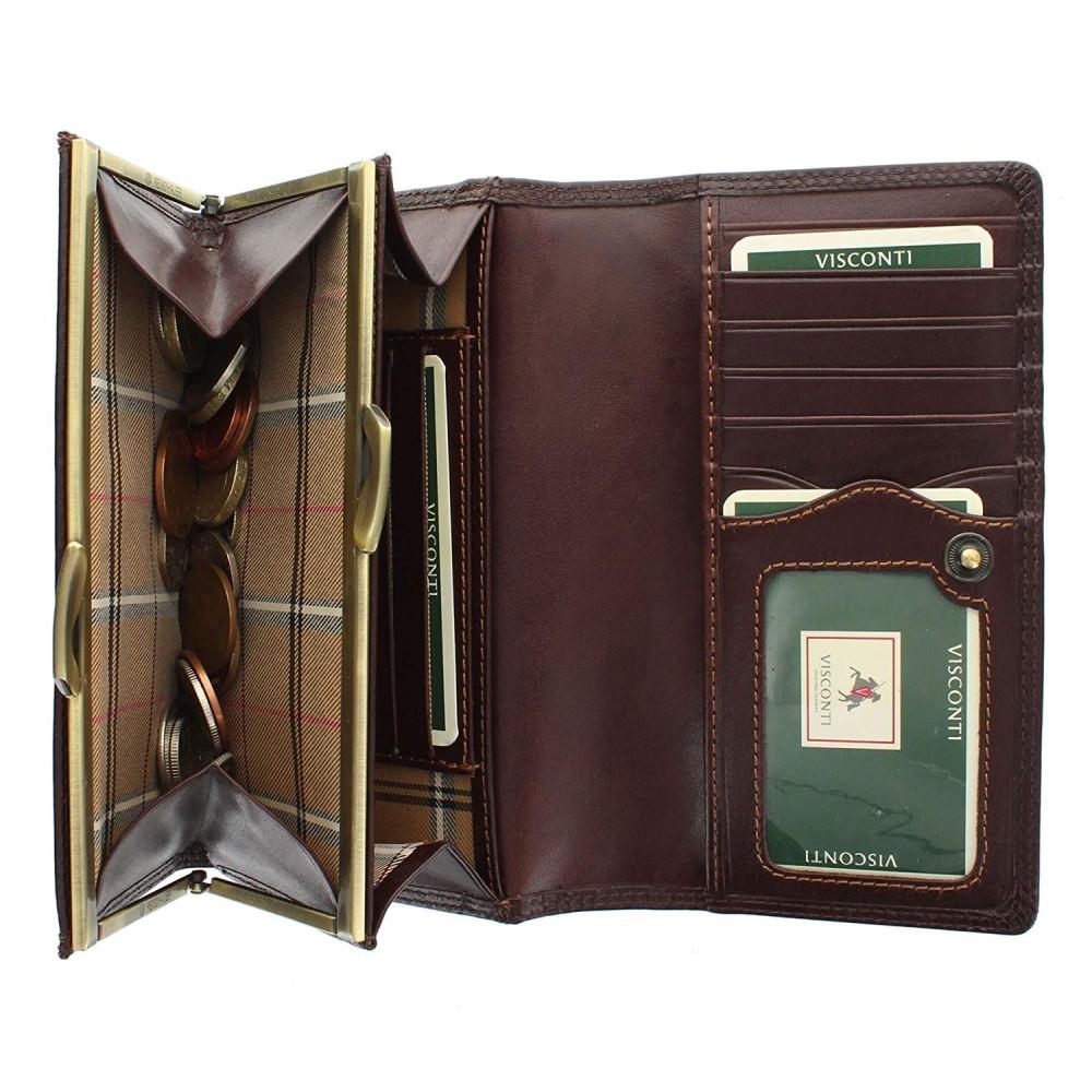 Женский кошелек Visconti MZ12 с защитой RFID - Maria (Brown)