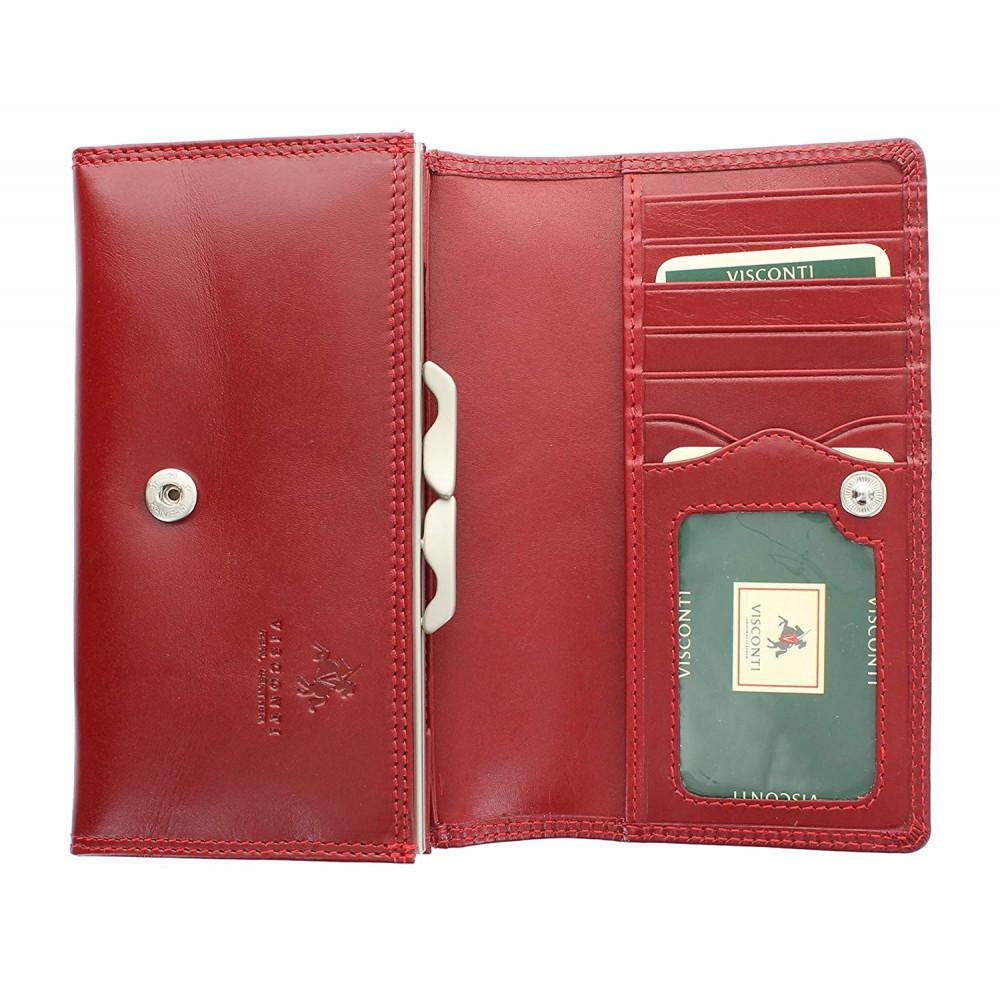 Женский кошелек Visconti MZ12 с защитой RFID - Maria (Red)
