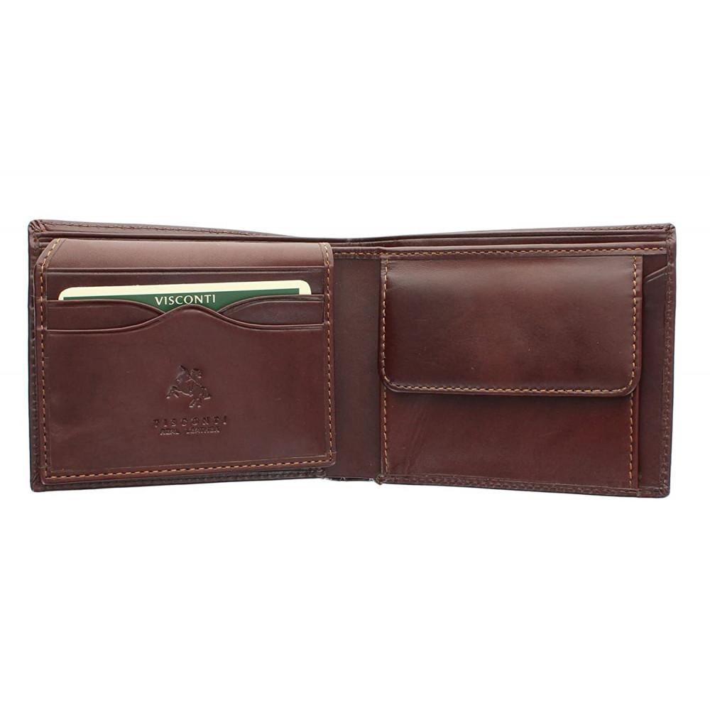 Мужской кожаный кошелек с монетницей Visconti MZ4 с RFID - Lazio (Brown)