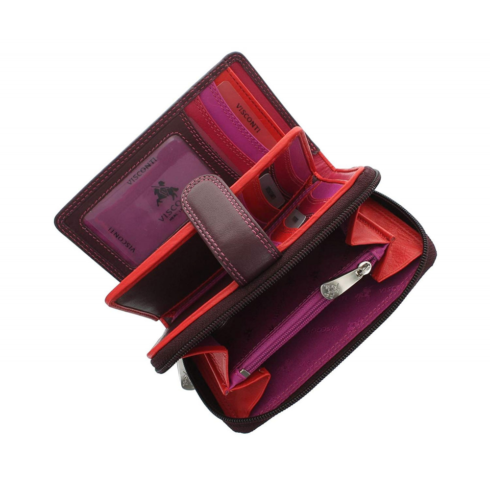 Женский кожный кошелек Visconti R13 - Carmelo (plum multi)