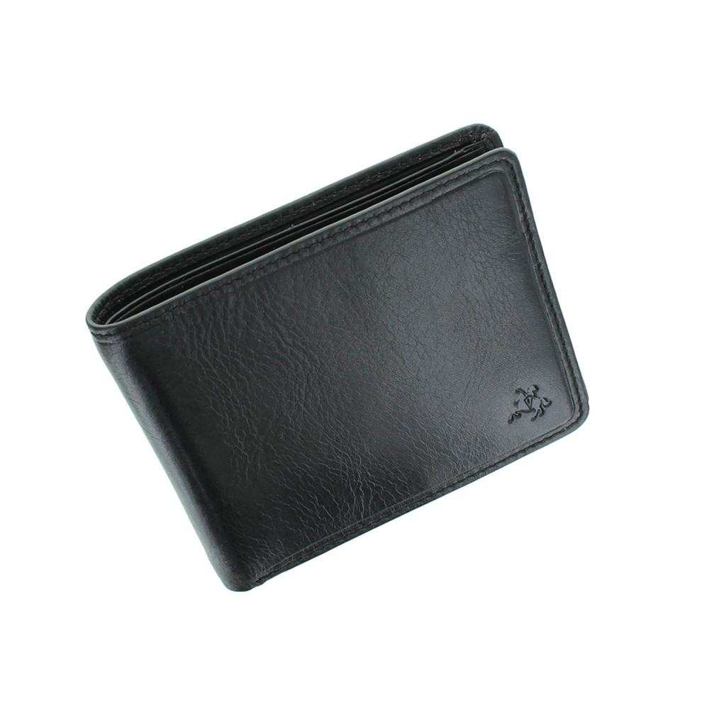 Мужской кожаный кошелек с монетницей без застежки Visconti TSC46 с RFID - Francesca (Black)