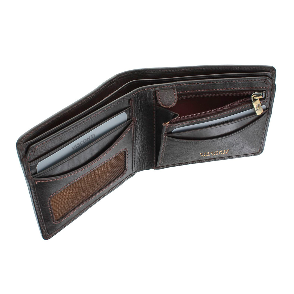 Мужской кожаный кошелек с монетницей без застежки Visconti TSC46 с RFID - Francesca (Brown)