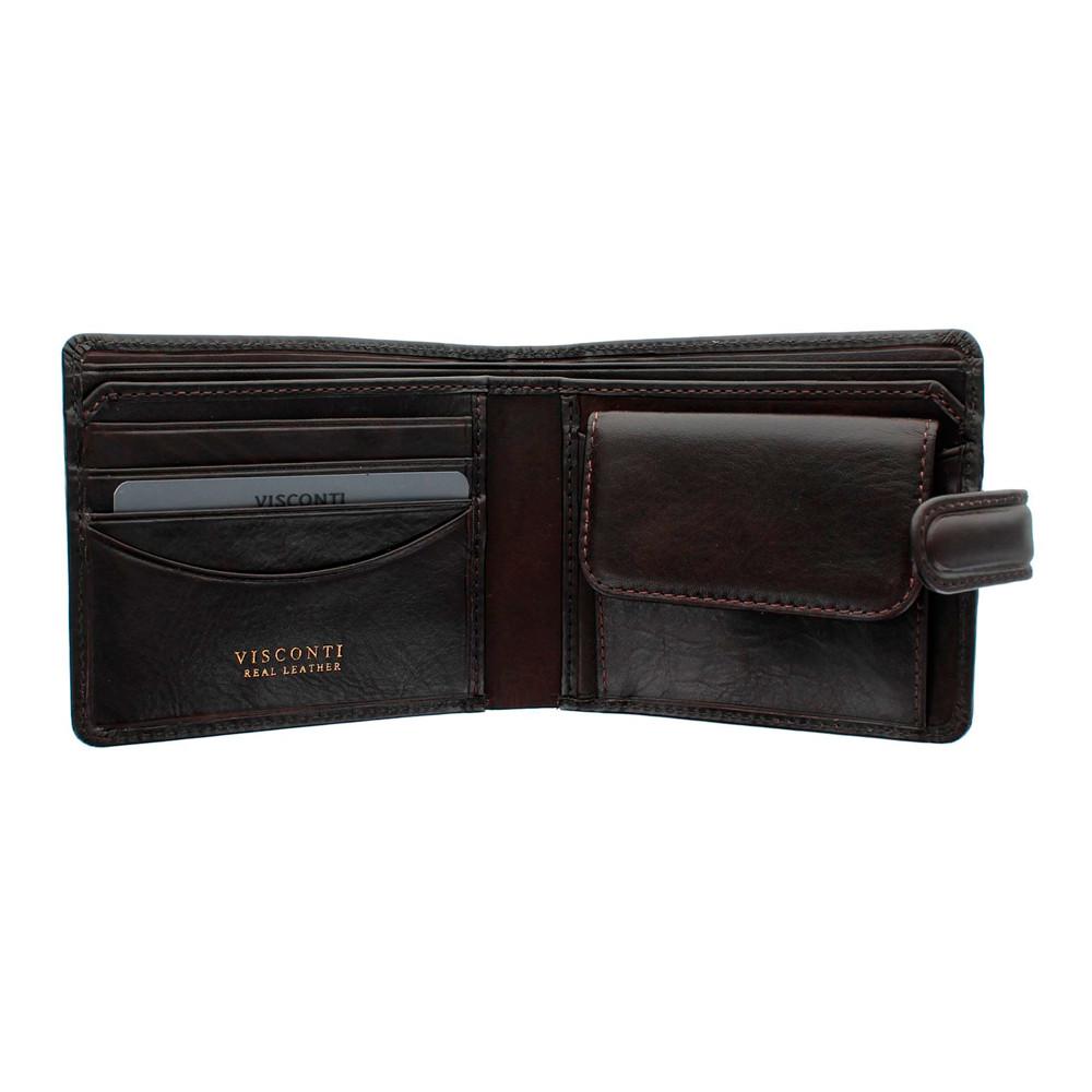 Мужской кожаный кошелек Visconti TSC47 с защитой RFID - Riccardo (brown)