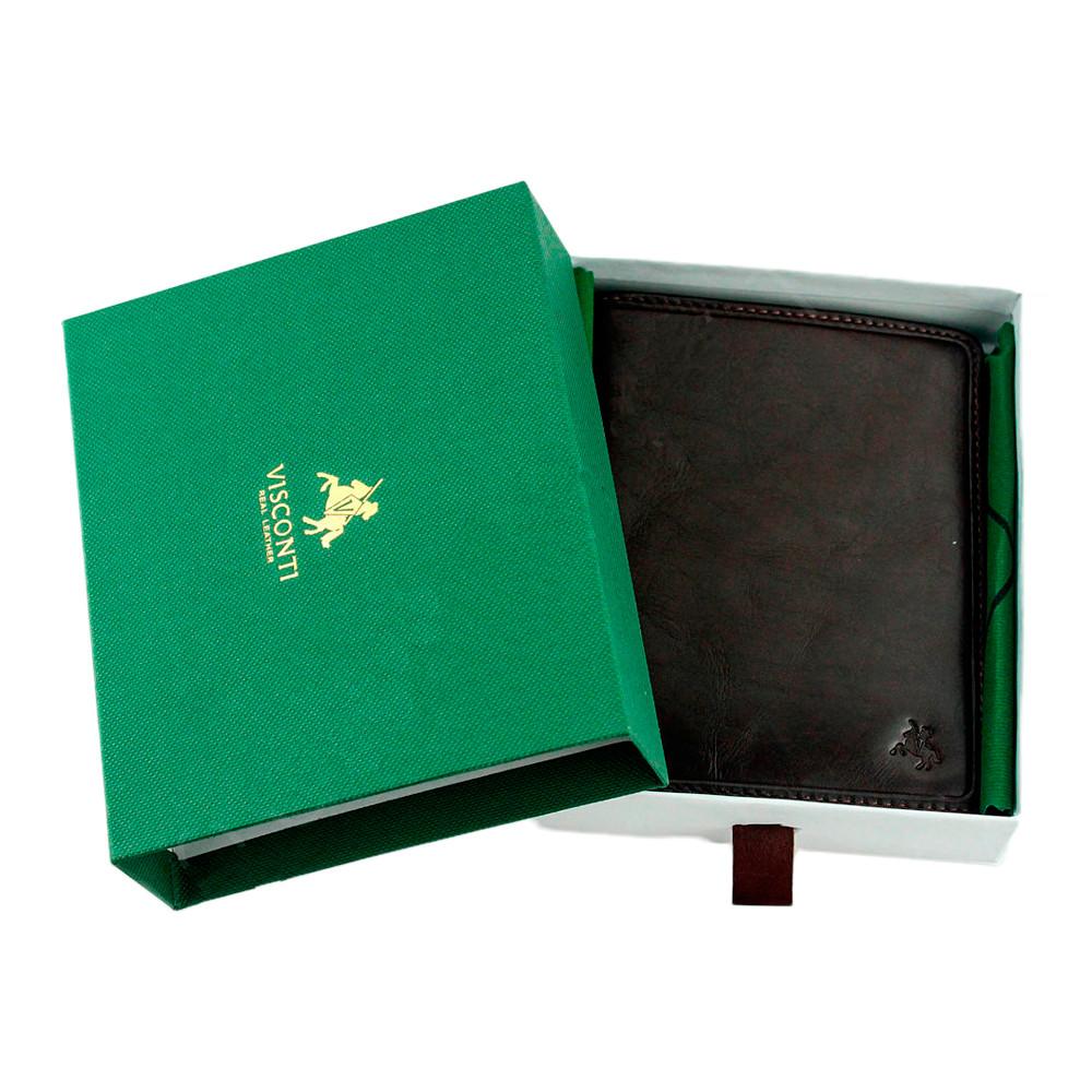 Мужской кожаный кошелек Visconti TSC49 с RFID Matteo (Brown)